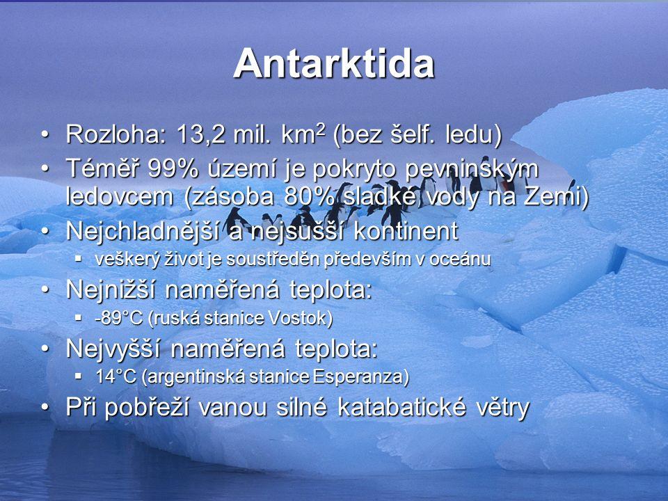 Antarktida Rozloha: 13,2 mil. km 2 (bez šelf. ledu)Rozloha: 13,2 mil.