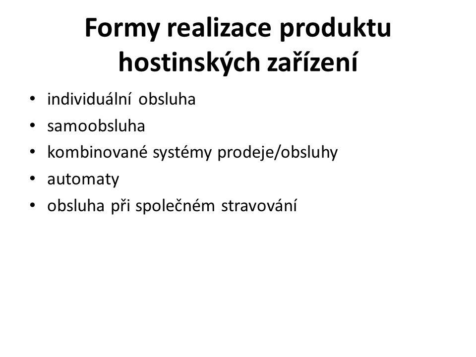 Formy realizace produktu hostinských zařízení individuální obsluha samoobsluha kombinované systémy prodeje/obsluhy automaty obsluha při společném stravování