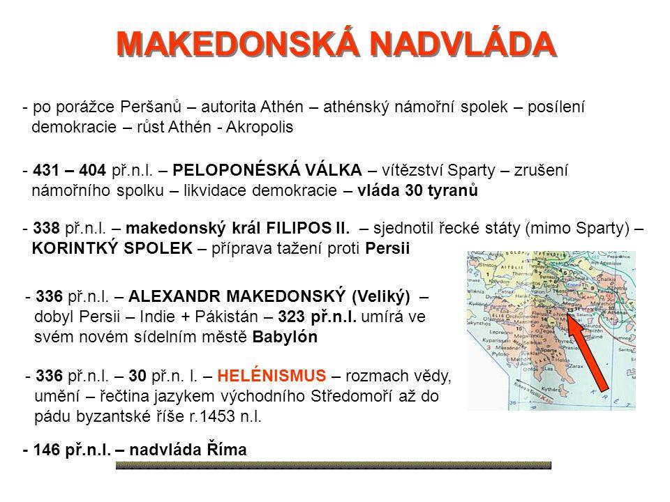 MAKEDONSKÁ NADVLÁDA MAKEDONSKÁ NADVLÁDA - po porážce Peršanů – autorita Athén – athénský námořní spolek – posílení demokracie – růst Athén - Akropolis