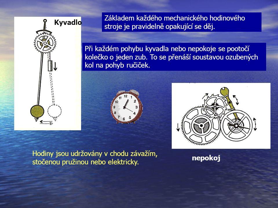 Kyvadlo nepokoj Základem každého mechanického hodinového stroje je pravidelně opakující se děj.