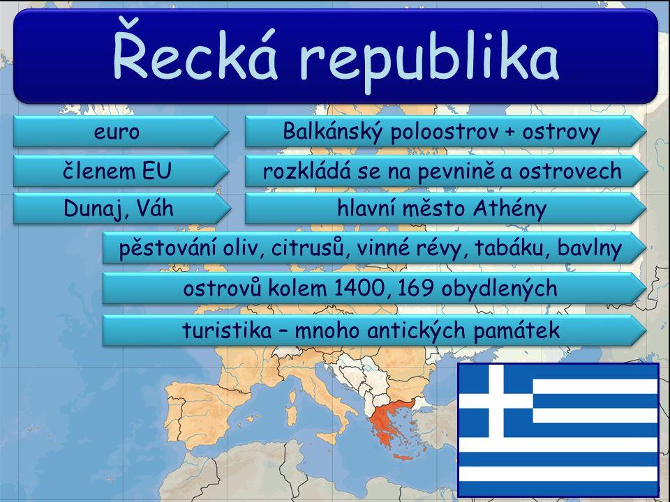 Řecká republika Balkánský poloostrov + ostrovy rozkládá se na pevnině a ostrovech členem EU hlavní město Athény Dunaj, Váh ostrovů kolem 1400, 169 obydlených euro pěstování oliv, citrusů, vinné révy, tabáku, bavlny turistika – mnoho antických památek