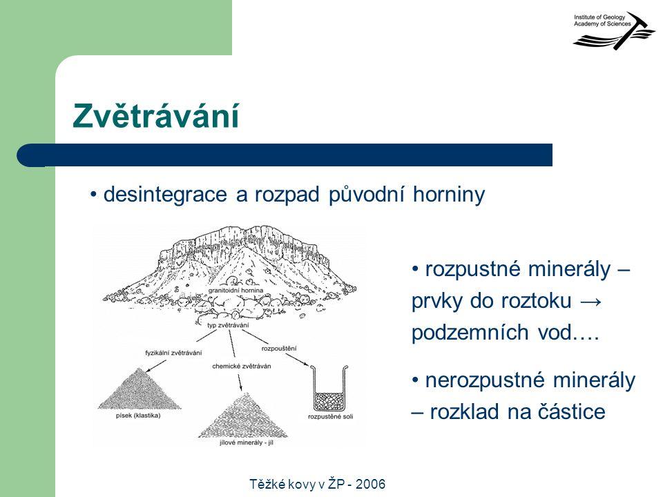 Těžké kovy v ŽP - 2006 Zvětrávání desintegrace a rozpad původní horniny rozpustné minerály – prvky do roztoku → podzemních vod….