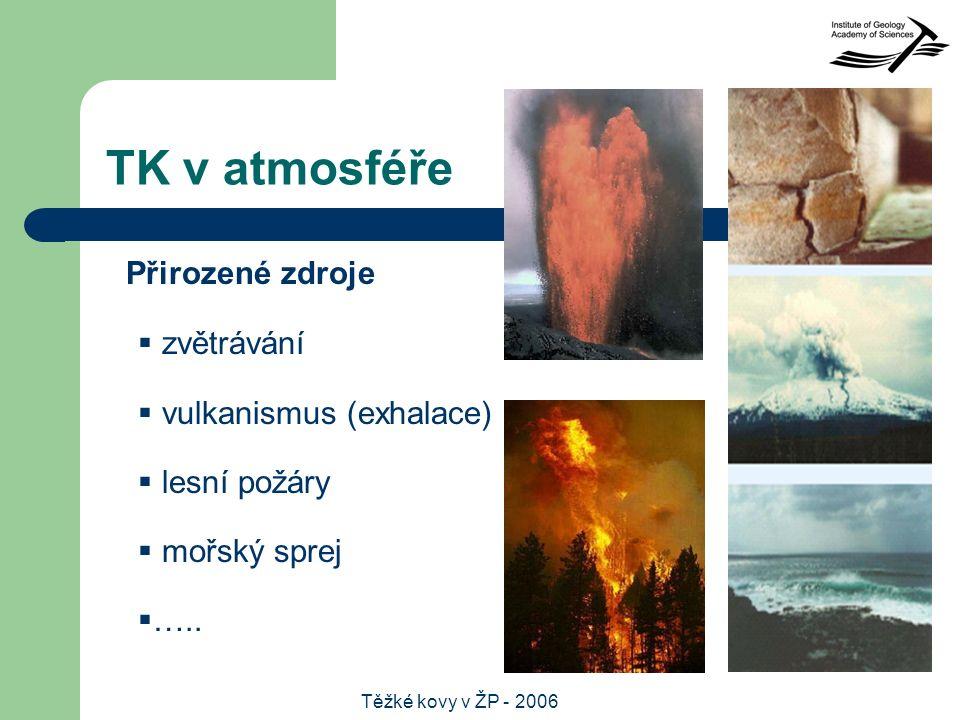 Těžké kovy v ŽP - 2006 TK v atmosféře  zvětrávání  vulkanismus (exhalace)  lesní požáry  mořský sprej  …..