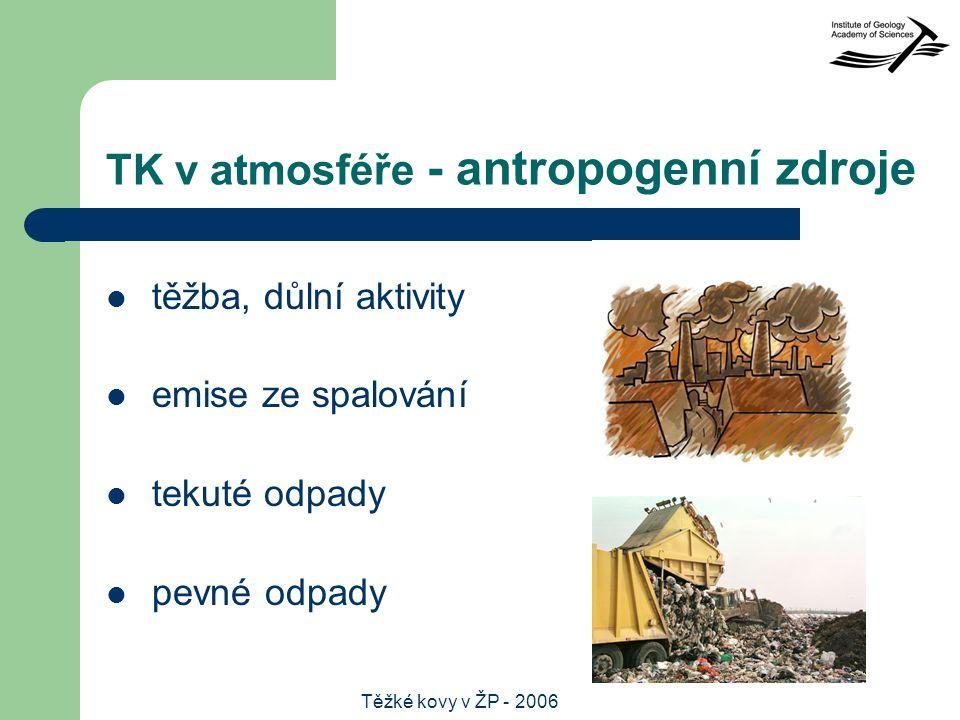 Těžké kovy v ŽP - 2006 TK v atmosféře - antropogenní zdroje těžba, důlní aktivity emise ze spalování tekuté odpady pevné odpady