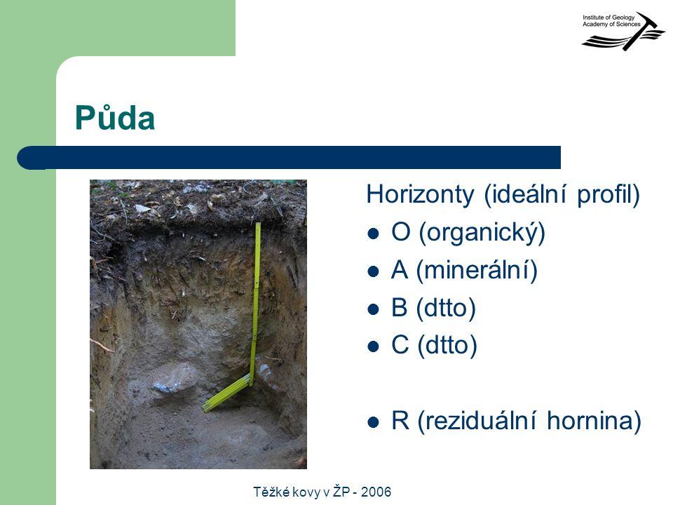 Těžké kovy v ŽP - 2006 Půda Horizonty (ideální profil) O (organický) A (minerální) B (dtto) C (dtto) R (reziduální hornina)