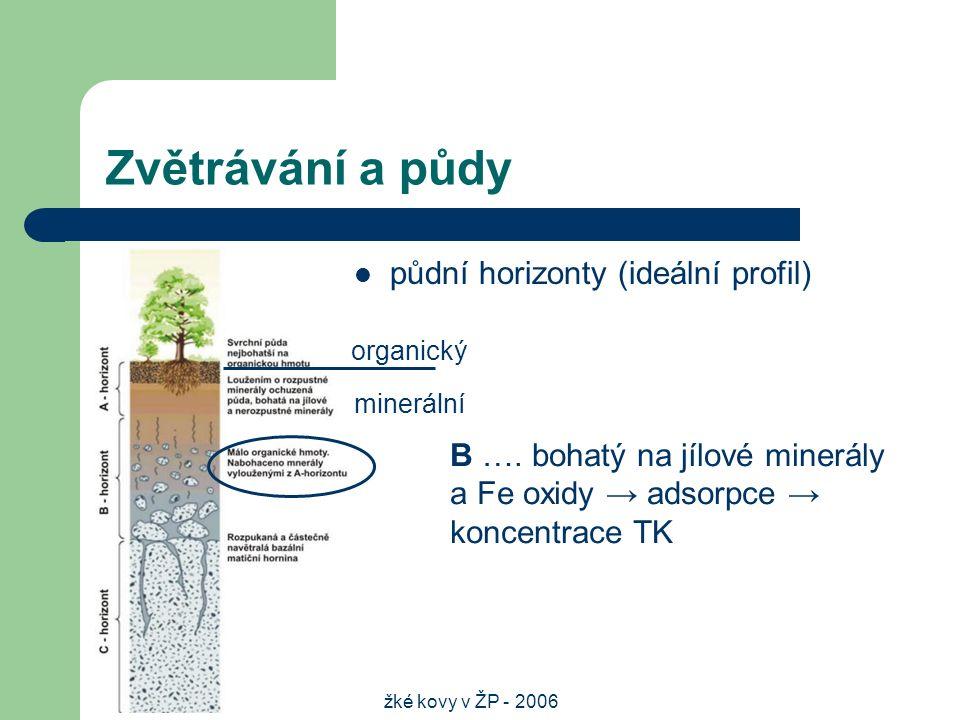 Těžké kovy v ŽP - 2006 Zvětrávání a půdy půdní horizonty (ideální profil) organický minerální B ….
