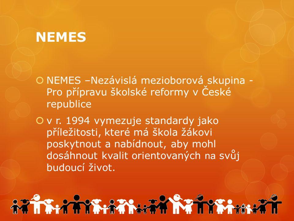 NEMES  NEMES –Nezávislá mezioborová skupina - Pro přípravu školské reformy v České republice  v r.