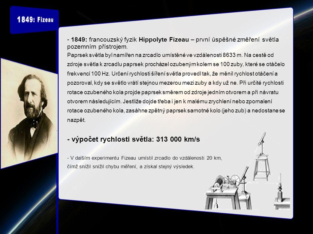 - 1849: francouzský fyzik Hippolyte Fizeau – první úspěšné změření světla pozemním přístrojem.