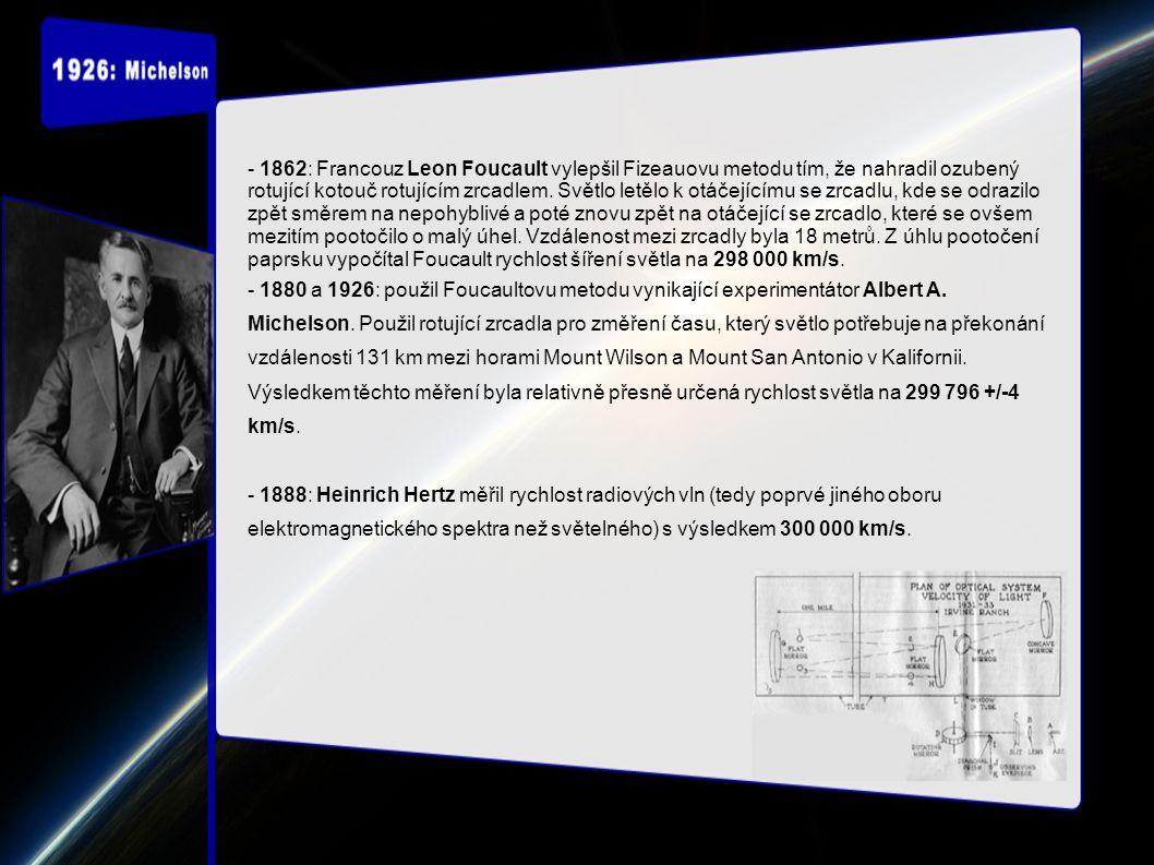 - 20.století: ve Foucaltově metodě se začaly jako zdroj světla využívat lasery.