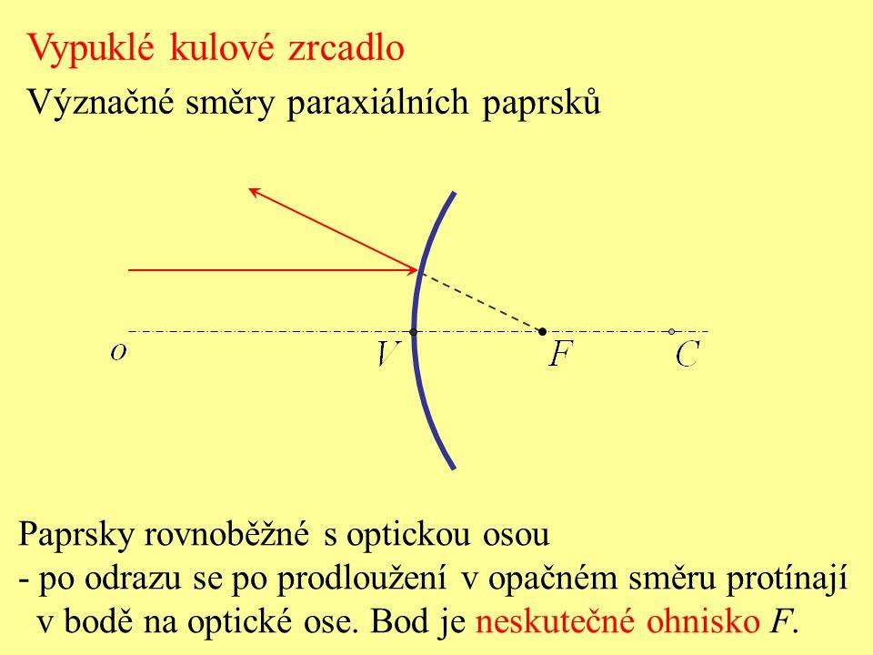 Paprsky rovnoběžné s optickou osou - po odrazu se po prodloužení v opačném směru protínají v bodě na optické ose.