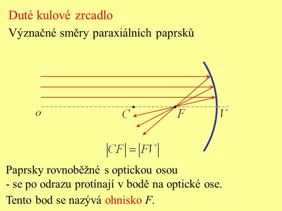 Vypuklé kulové zrcadlo Geometrická konstrukce obrazu předmětu Vlastnosti obrazu předmětu: - obraz leží za zrcadlem, - obraz je neskutečný, přímý a zmenšený.