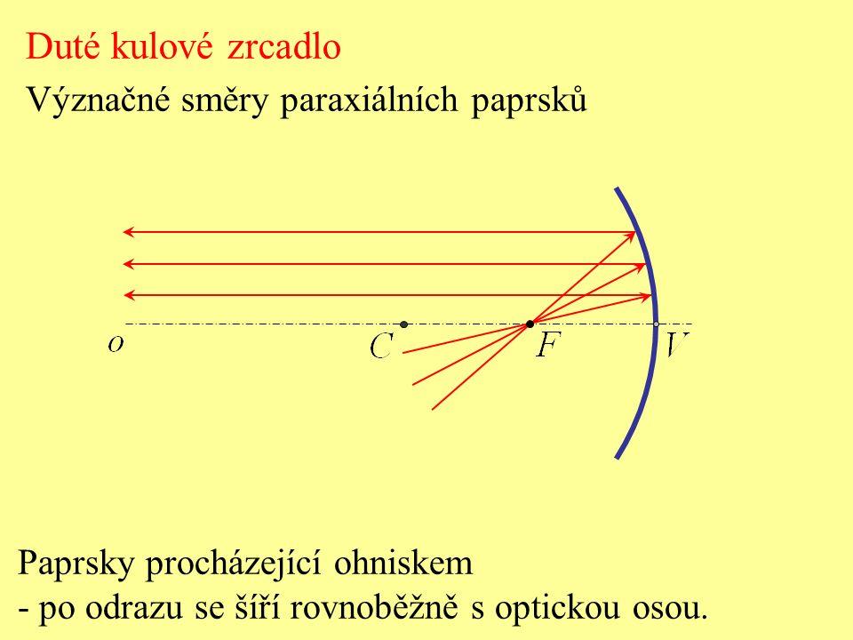 Paprsky procházející ohniskem - po odrazu se šíří rovnoběžně s optickou osou.