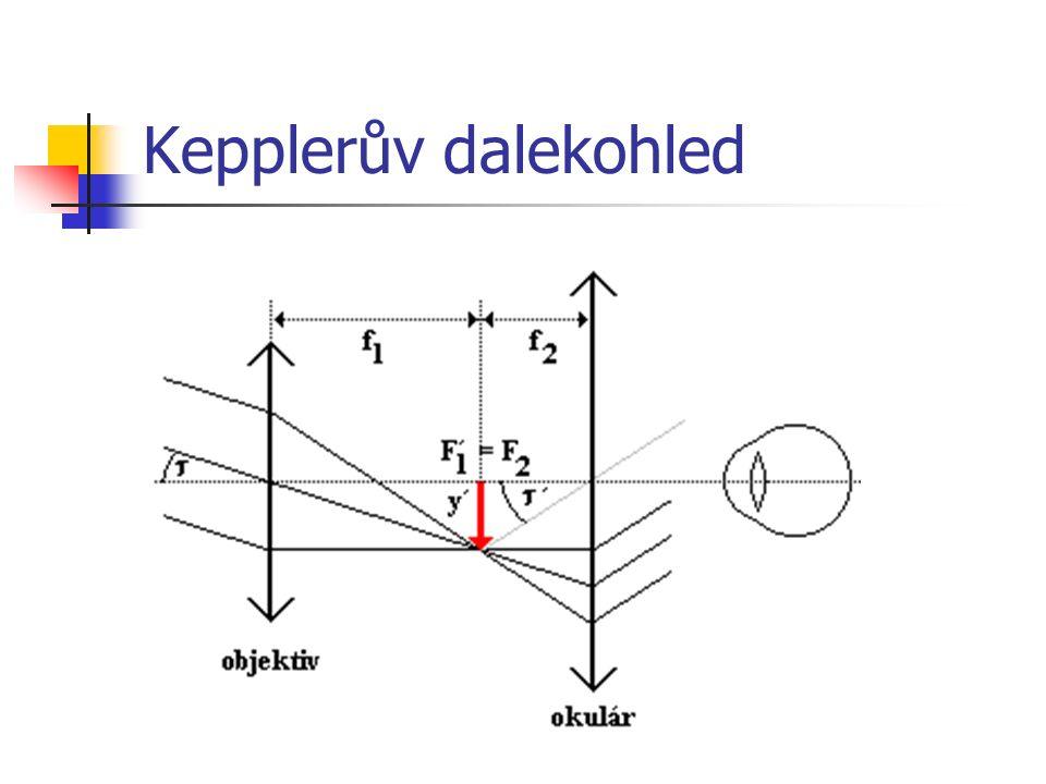 převrácený obraz pro pozorování hvězd nevadí pro pozemská pozorování se převrací obraz pomocí hranolů (nebo další spojky) = triedr