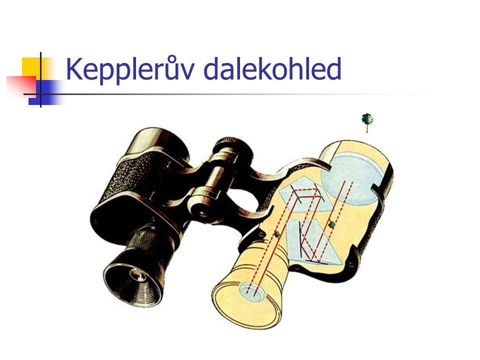Galileův dalekohled objektiv tvoří spojná čočka okulár je tvořen rozptylkou obraz je přímý, neskutečný, úhlově zvětšený divadelní kukátko