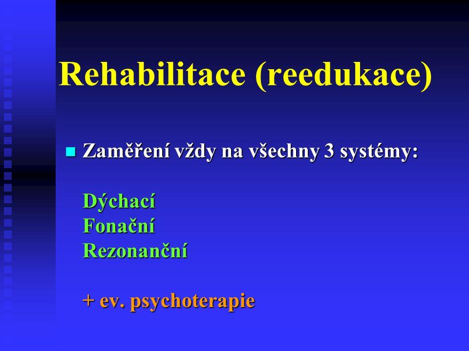 Rehabilitace (reedukace) Zaměření vždy na všechny 3 systémy: Dýchací Fonační Rezonanční + ev.