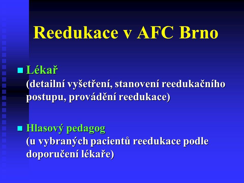 Reedukace v AFC Brno Lékař (detailní vyšetření, stanovení reedukačního postupu, provádění reedukace) Lékař (detailní vyšetření, stanovení reedukačního postupu, provádění reedukace) Hlasový pedagog (u vybraných pacientů reedukace podle doporučení lékaře) Hlasový pedagog (u vybraných pacientů reedukace podle doporučení lékaře)