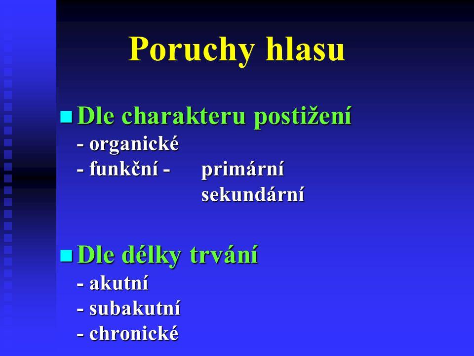 Poruchy hlasu Dle charakteru postižení - organické - funkční - primární sekundární Dle charakteru postižení - organické - funkční - primární sekundární Dle délky trvání - akutní - subakutní - chronické Dle délky trvání - akutní - subakutní - chronické