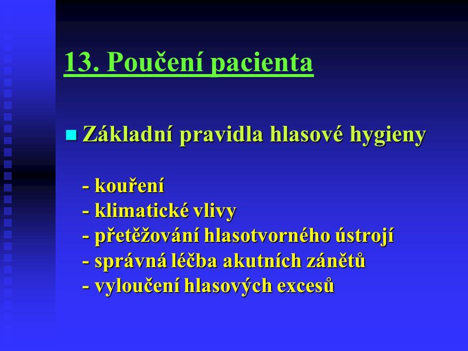 13. Poučení pacienta Základní pravidla hlasové hygieny - kouření - klimatické vlivy - přetěžování hlasotvorného ústrojí - správná léčba akutních zánět
