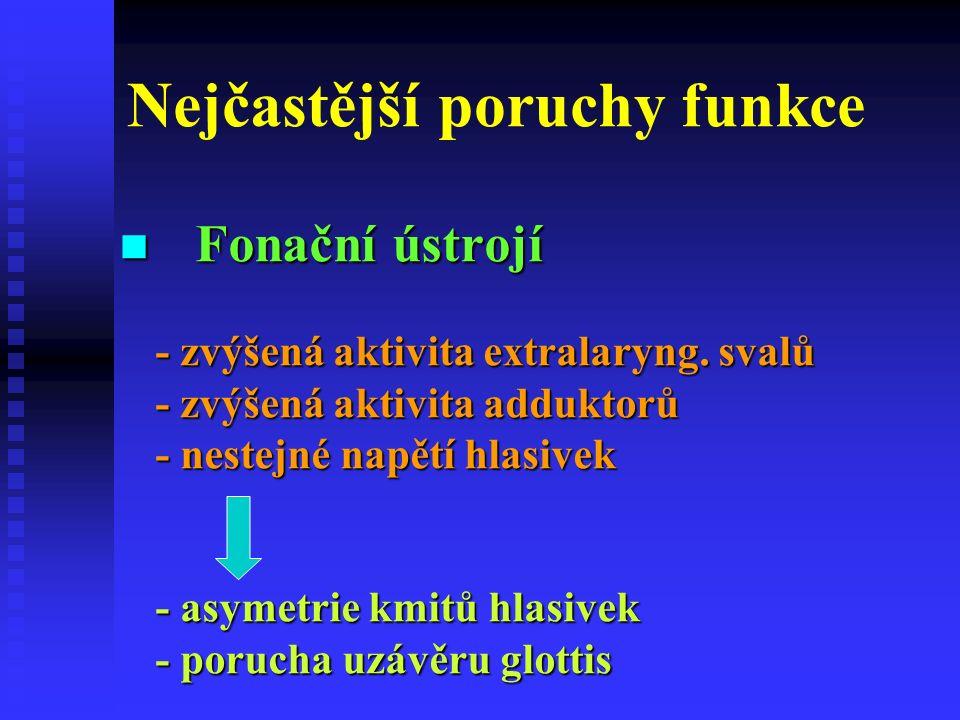 Nejčastější poruchy funkce Fonační ústrojí - zvýšená aktivita extralaryng.