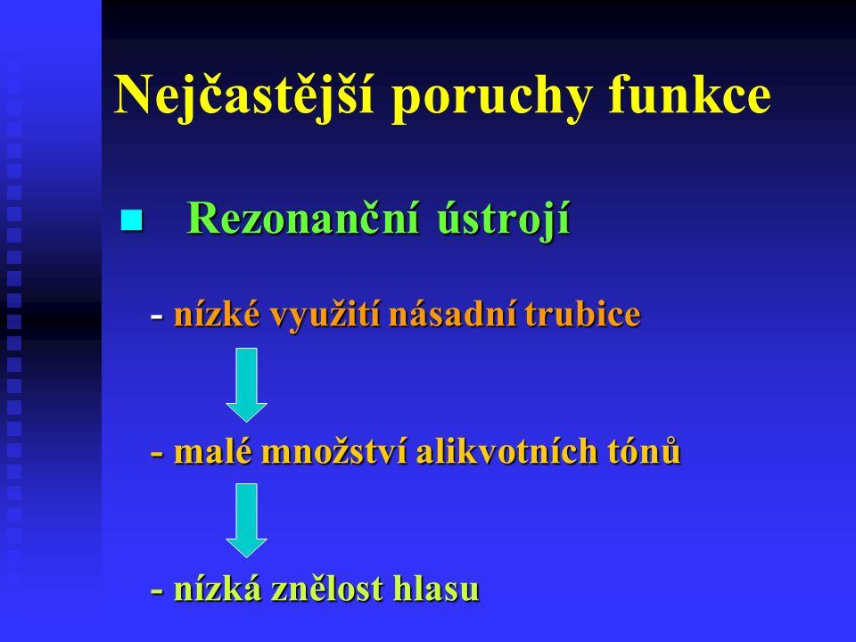 Nejčastější poruchy funkce Rezonanční ústrojí - nízké využití násadní trubice - malé množství alikvotních tónů - nízká znělost hlasu Rezonanční ústrojí - nízké využití násadní trubice - malé množství alikvotních tónů - nízká znělost hlasu