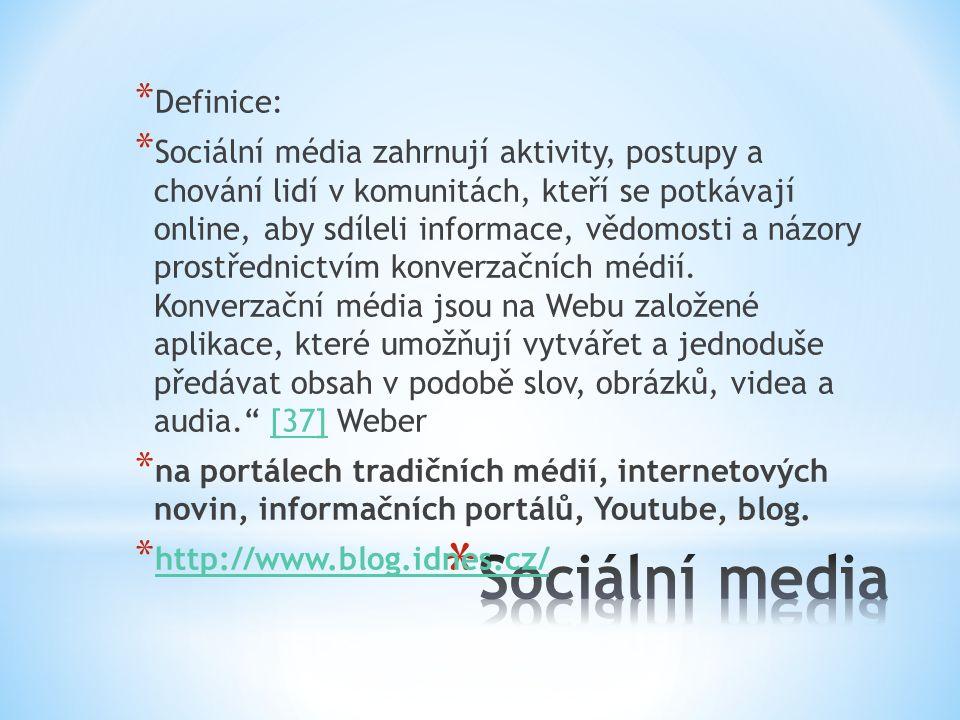 * Definice: * Sociální média zahrnují aktivity, postupy a chování lidí v komunitách, kteří se potkávají online, aby sdíleli informace, vědomosti a názory prostřednictvím konverzačních médií.