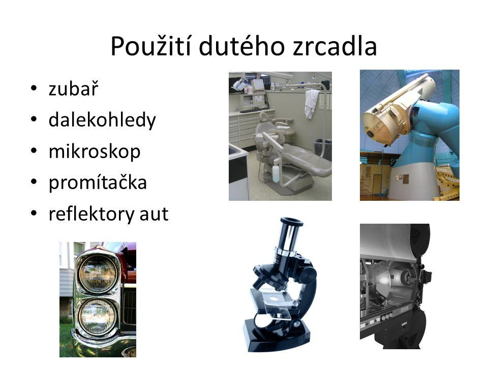 Použití dutého zrcadla zubař dalekohledy mikroskop promítačka reflektory aut