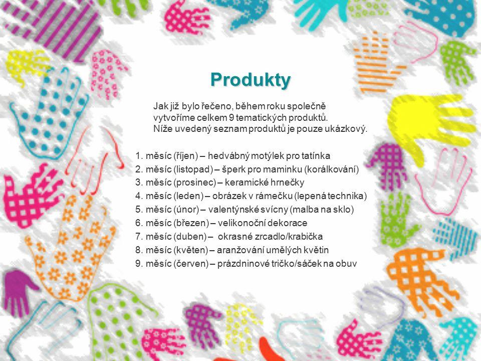 Produkty Jak již bylo řečeno, během roku společně vytvoříme celkem 9 tematických produktů. Níže uvedený seznam produktů je pouze ukázkový. 1. měsíc (ř