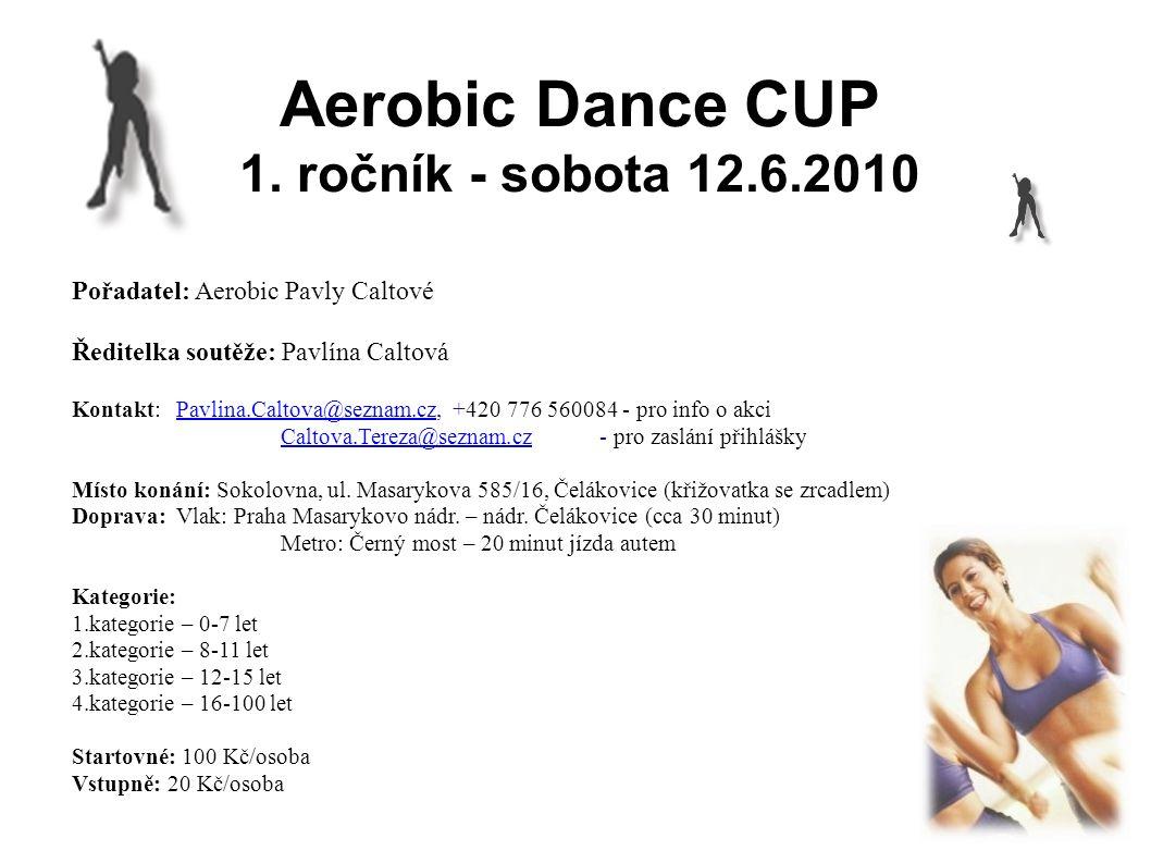 Aerobic Dance CUP 1. ročník - sobota 12.6.2010 Pořadatel: Aerobic Pavly Caltové Ředitelka soutěže: Pavlína Caltová Kontakt:Pavlina.Caltova@seznam.cz,