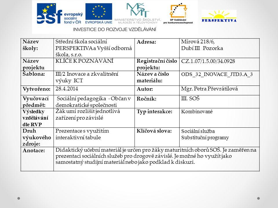 Název školy: Střední škola sociální PERSPEKTIVA a Vyšší odborná škola, s.r.o.