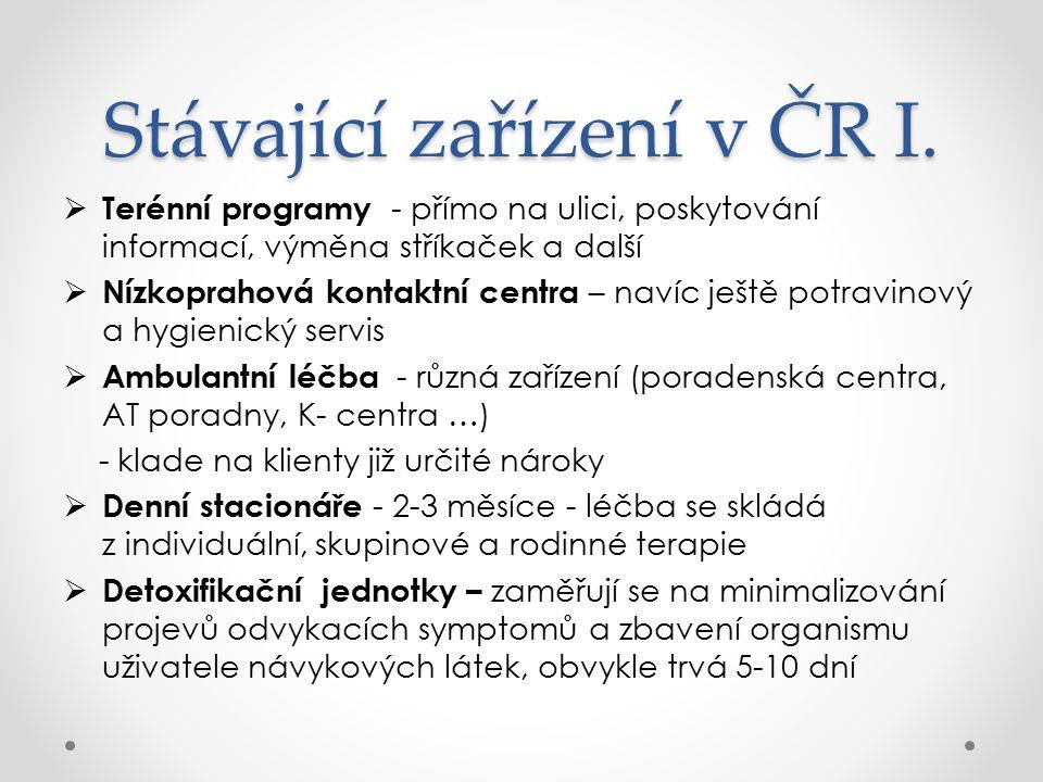 Stávající zařízení v ČR I.