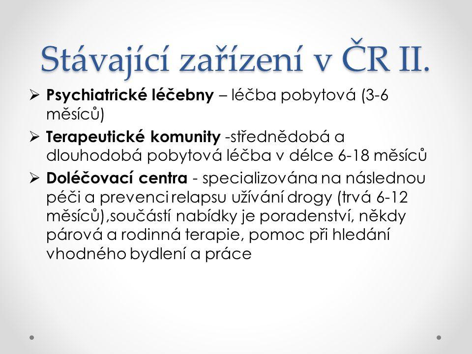 Stávající zařízení v ČR II.