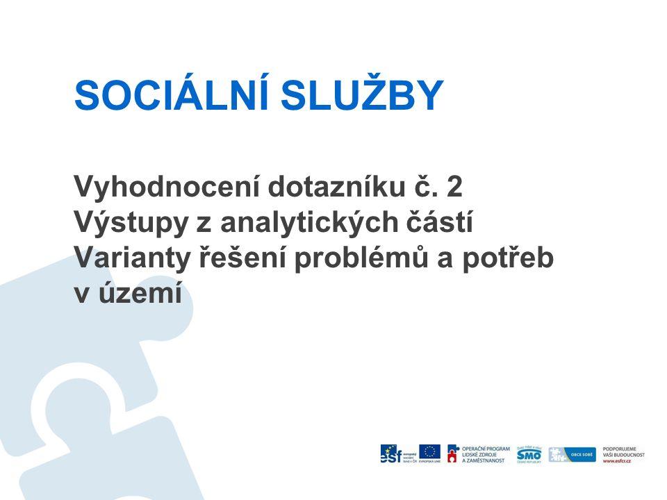 SOCIÁLNÍ SLUŽBY Vyhodnocení dotazníku č. 2 Výstupy z analytických částí Varianty řešení problémů a potřeb v území