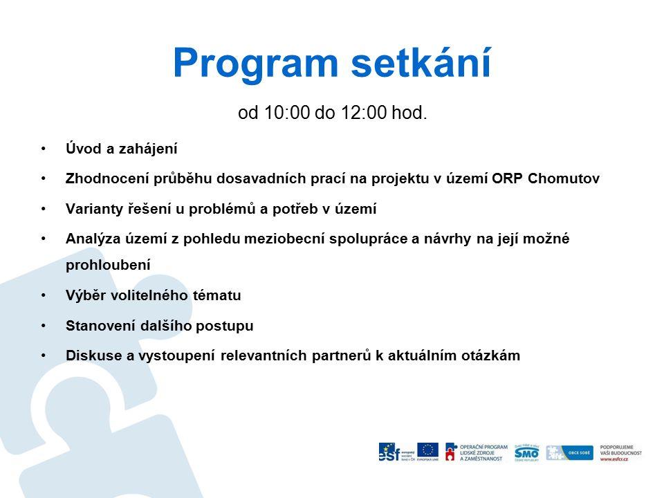 Program setkání od 10:00 do 12:00 hod. Úvod a zahájení Zhodnocení průběhu dosavadních prací na projektu v území ORP Chomutov Varianty řešení u problém