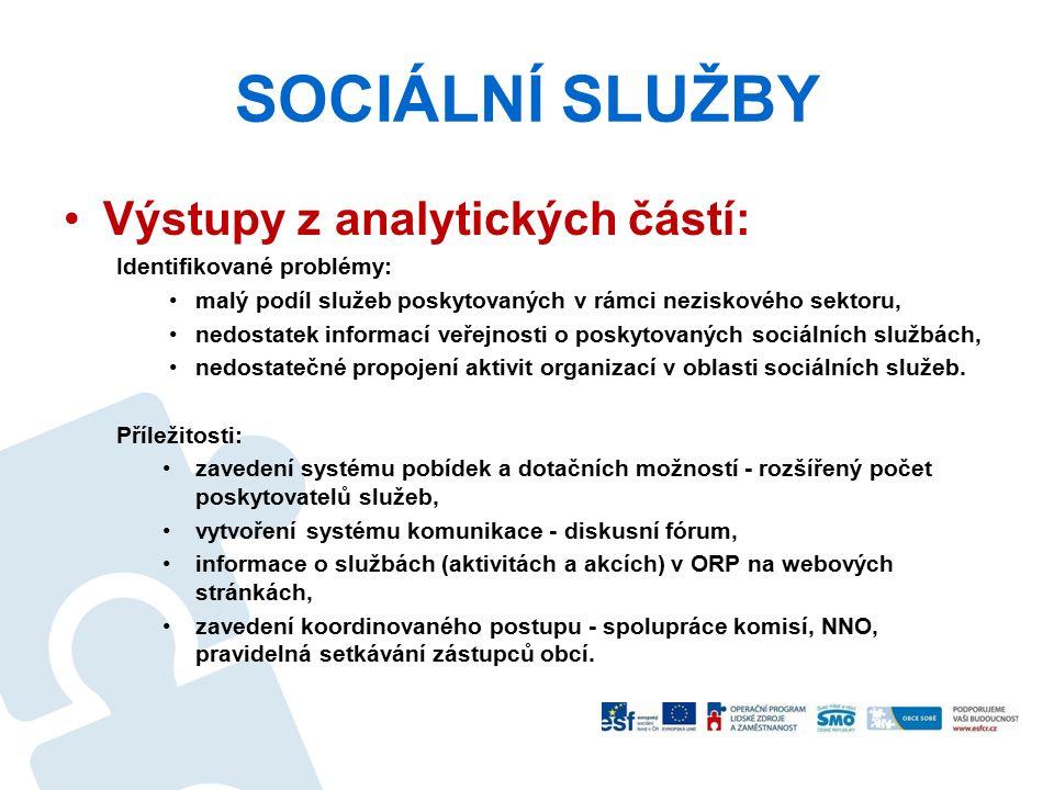 SOCIÁLNÍ SLUŽBY Výstupy z analytických částí: Identifikované problémy: malý podíl služeb poskytovaných v rámci neziskového sektoru, nedostatek informa