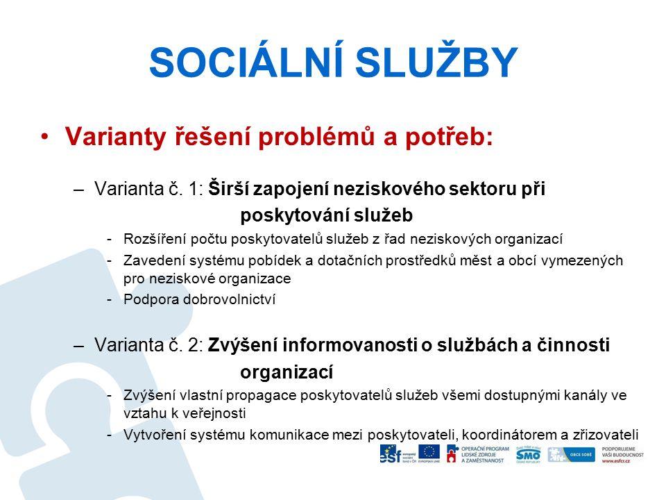 SOCIÁLNÍ SLUŽBY Varianty řešení problémů a potřeb: –Varianta č. 1: Širší zapojení neziskového sektoru při poskytování služeb -Rozšíření počtu poskytov