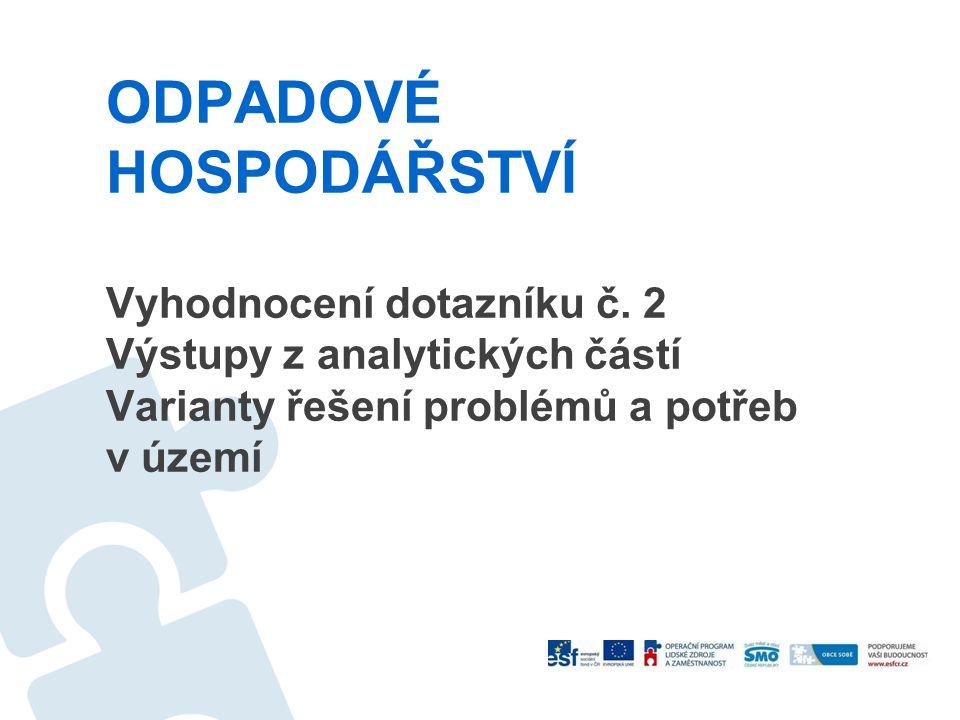 ODPADOVÉ HOSPODÁŘSTVÍ Vyhodnocení dotazníku č. 2 Výstupy z analytických částí Varianty řešení problémů a potřeb v území