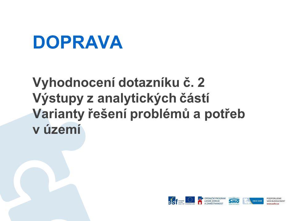 DOPRAVA Vyhodnocení dotazníku č. 2 Výstupy z analytických částí Varianty řešení problémů a potřeb v území