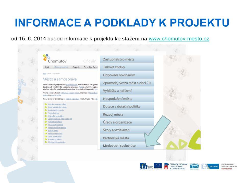 INFORMACE A PODKLADY K PROJEKTU od 15. 6. 2014 budou informace k projektu ke stažení na www.chomutov-mesto.czwww.chomutov-mesto.cz