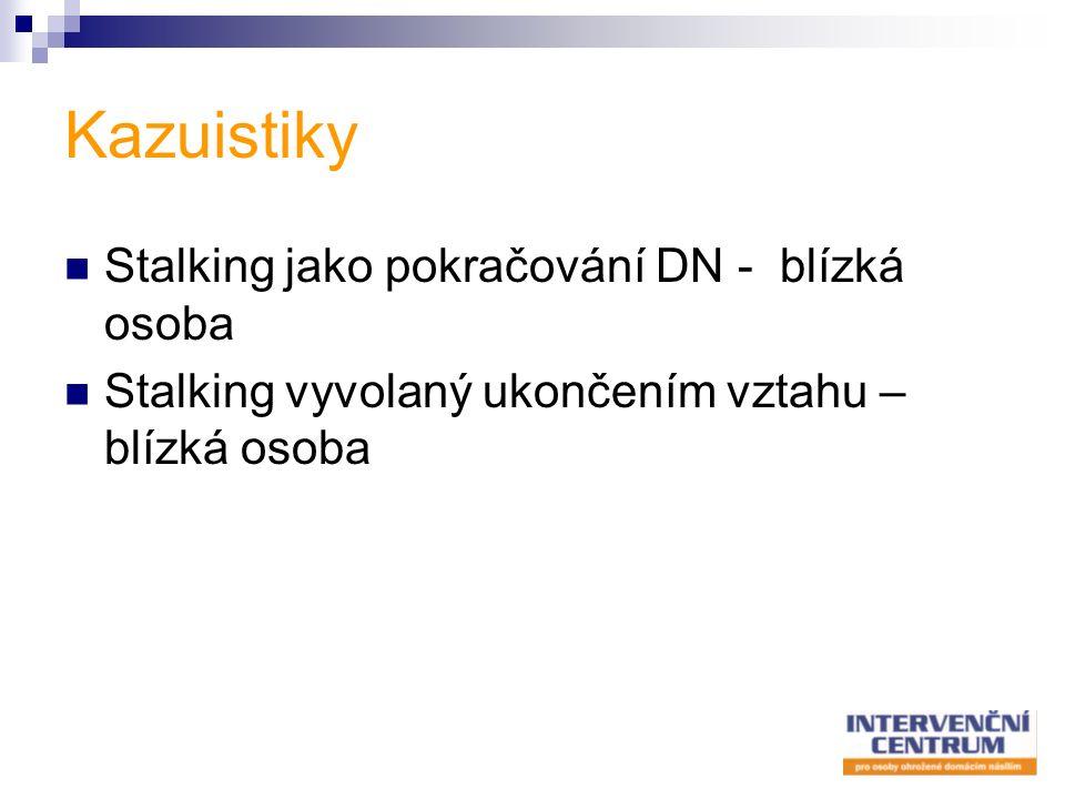 Kazuistiky Stalking jako pokračování DN - blízká osoba Stalking vyvolaný ukončením vztahu – blízká osoba
