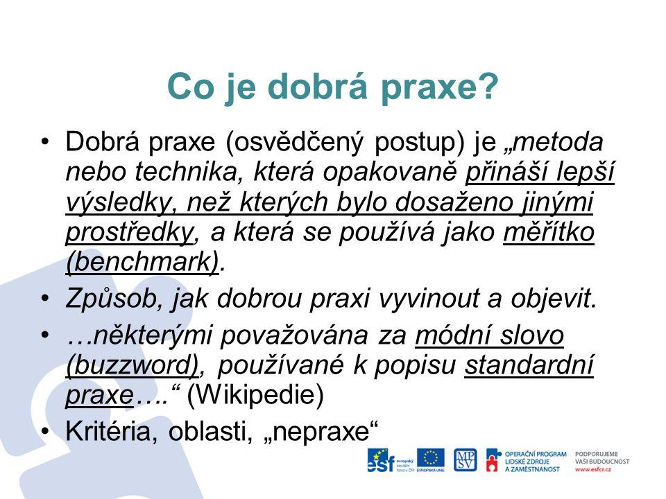 """Co je dobrá praxe? Dobrá praxe (osvědčený postup) je """"metoda nebo technika, která opakovaně přináší lepší výsledky, než kterých bylo dosaženo jinými p"""
