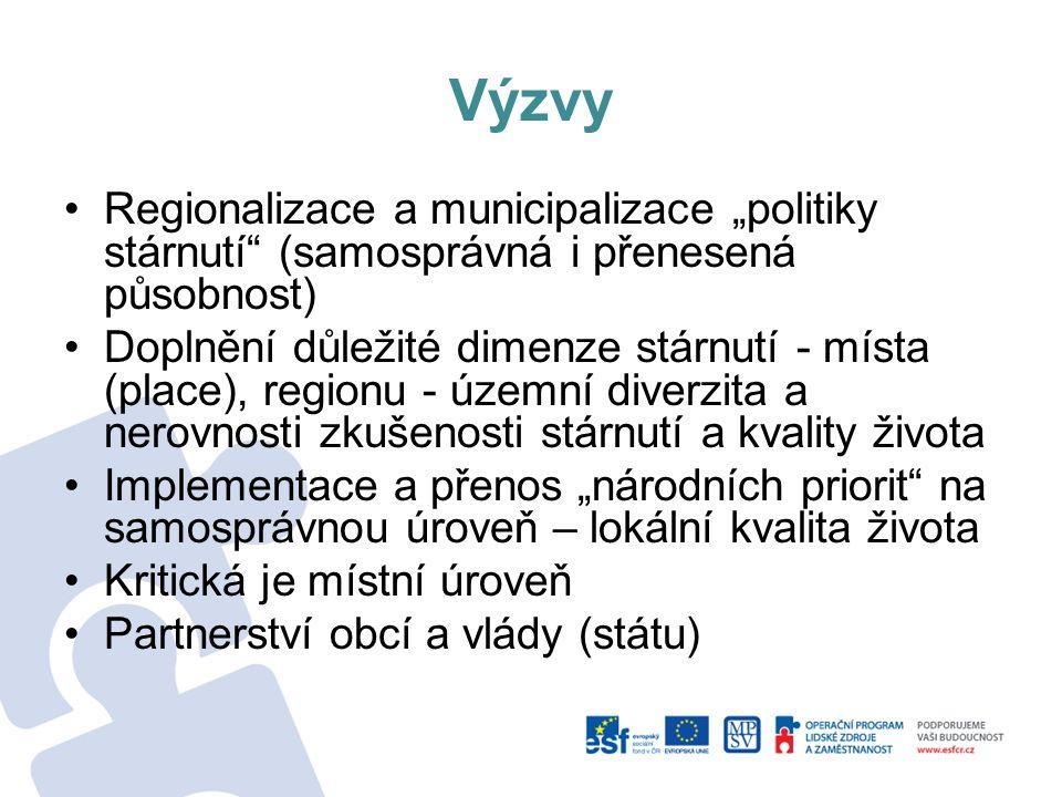 """Výzvy Regionalizace a municipalizace """"politiky stárnutí (samosprávná i přenesená působnost) Doplnění důležité dimenze stárnutí - místa (place), regionu - územní diverzita a nerovnosti zkušenosti stárnutí a kvality života Implementace a přenos """"národních priorit na samosprávnou úroveň – lokální kvalita života Kritická je místní úroveň Partnerství obcí a vlády (státu)"""