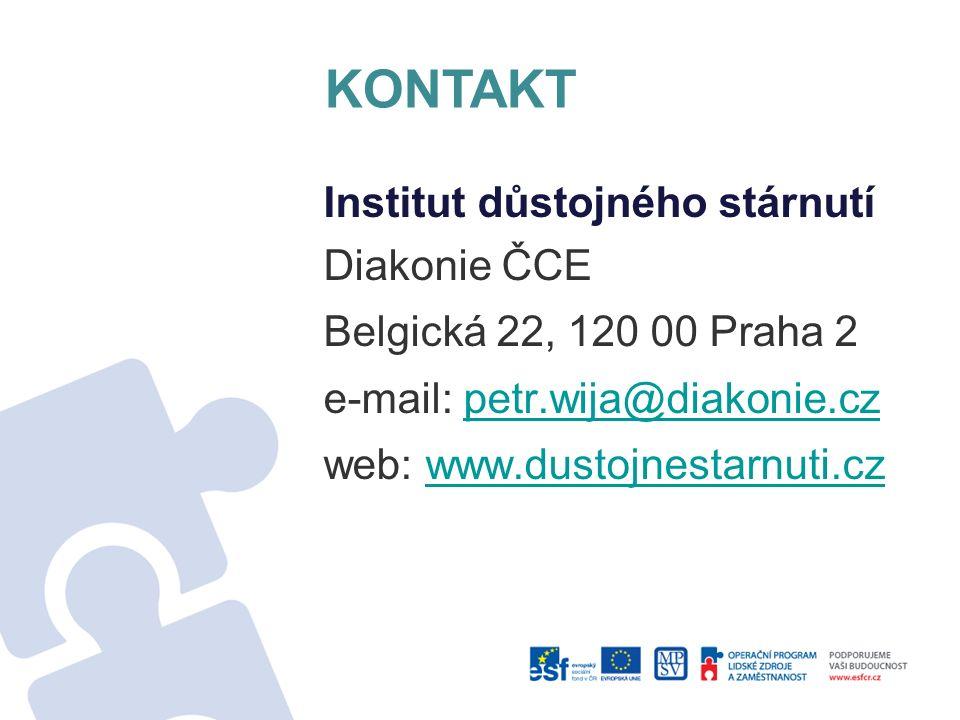 KONTAKT Institut důstojného stárnutí Diakonie ČCE Belgická 22, 120 00 Praha 2 e-mail: petr.wija@diakonie.czpetr.wija@diakonie.cz web: www.dustojnestar