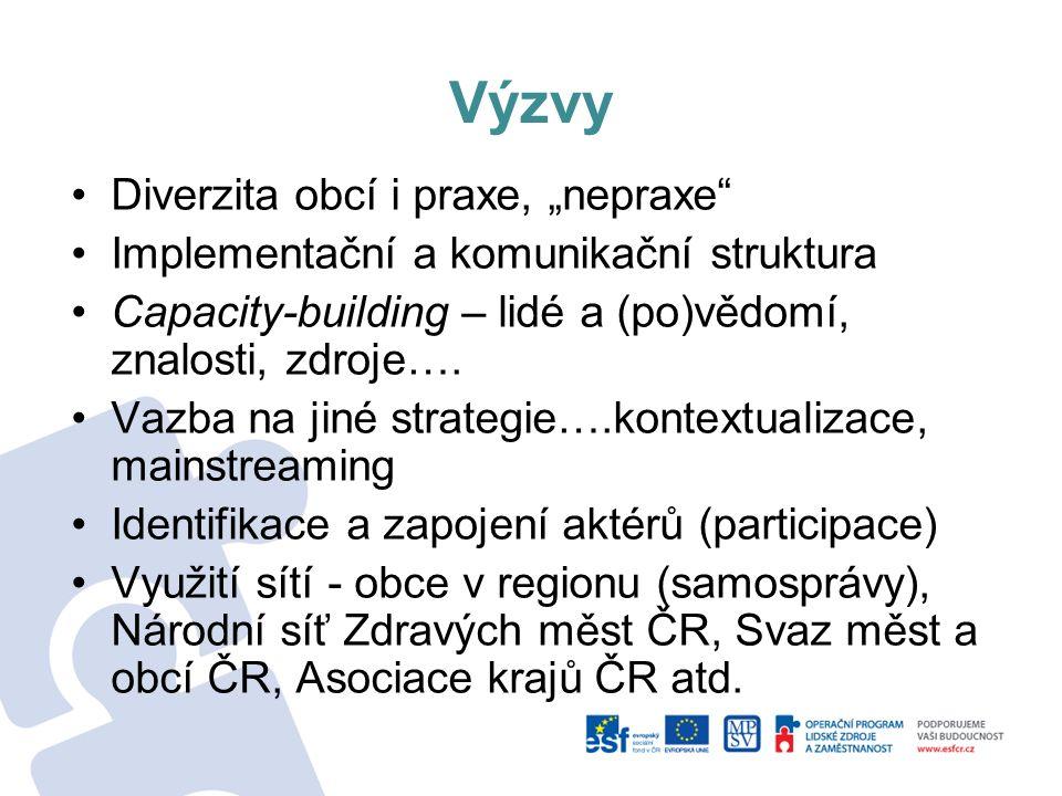 """Výzvy Diverzita obcí i praxe, """"nepraxe"""" Implementační a komunikační struktura Capacity-building – lidé a (po)vědomí, znalosti, zdroje…. Vazba na jiné"""