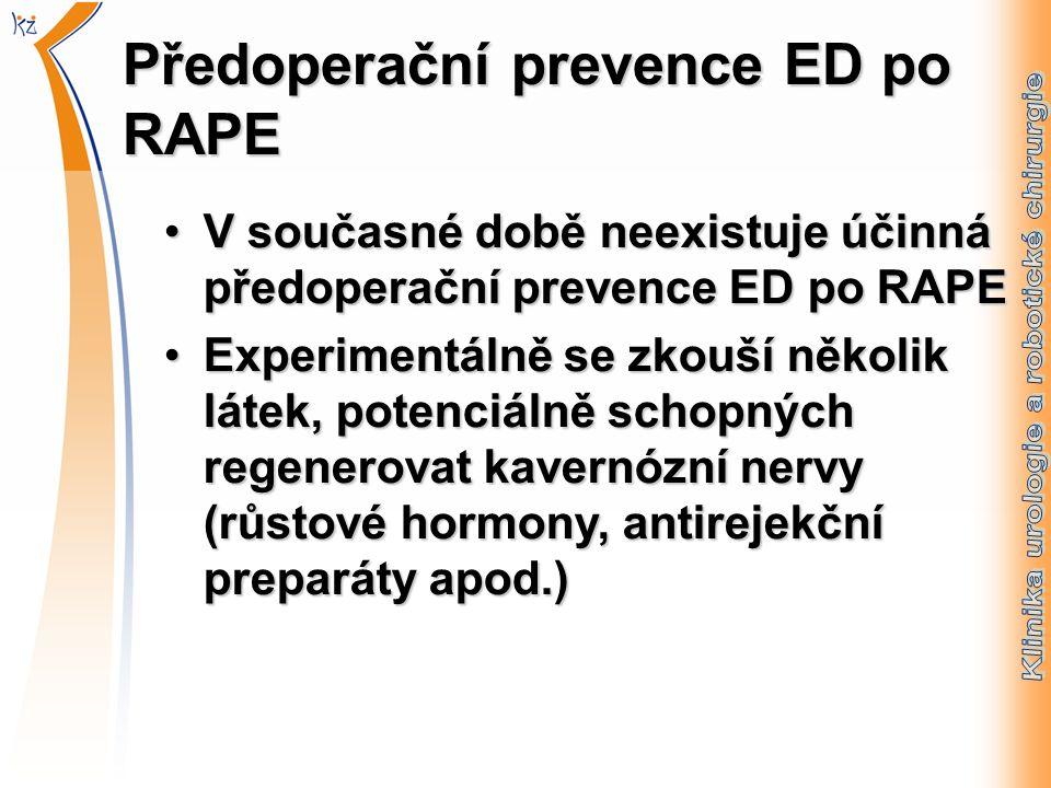 Předoperační prevence ED po RAPE V současné době neexistuje účinná předoperační prevence ED po RAPEV současné době neexistuje účinná předoperační prevence ED po RAPE Experimentálně se zkouší několik látek, potenciálně schopných regenerovat kavernózní nervy (růstové hormony, antirejekční preparáty apod.)Experimentálně se zkouší několik látek, potenciálně schopných regenerovat kavernózní nervy (růstové hormony, antirejekční preparáty apod.)