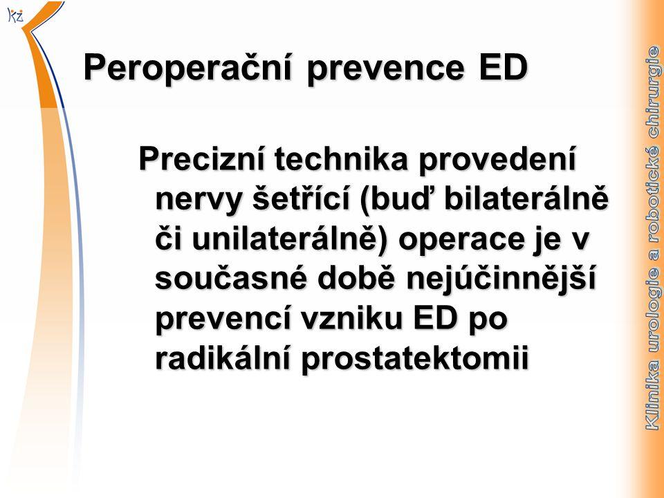 Peroperační prevence ED Precizní technika provedení nervy šetřící (buď bilaterálně či unilaterálně) operace je v současné době nejúčinnější prevencí vzniku ED po radikální prostatektomii Precizní technika provedení nervy šetřící (buď bilaterálně či unilaterálně) operace je v současné době nejúčinnější prevencí vzniku ED po radikální prostatektomii