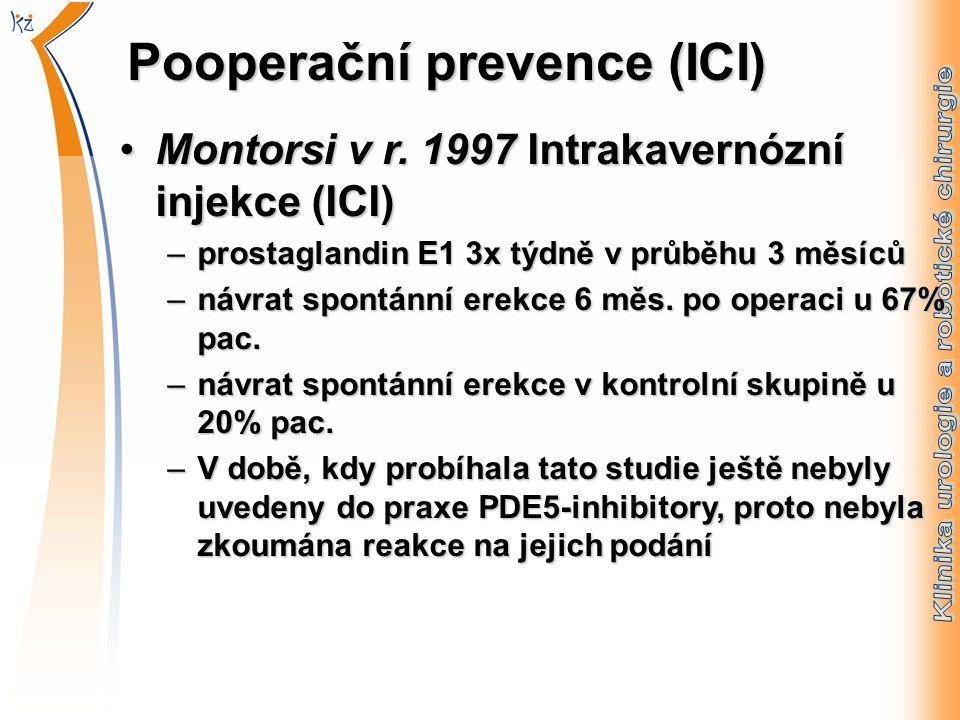 Pooperační prevence (ICI) Montorsi v r. 1997 Intrakavernózní injekce (ICI)Montorsi v r.