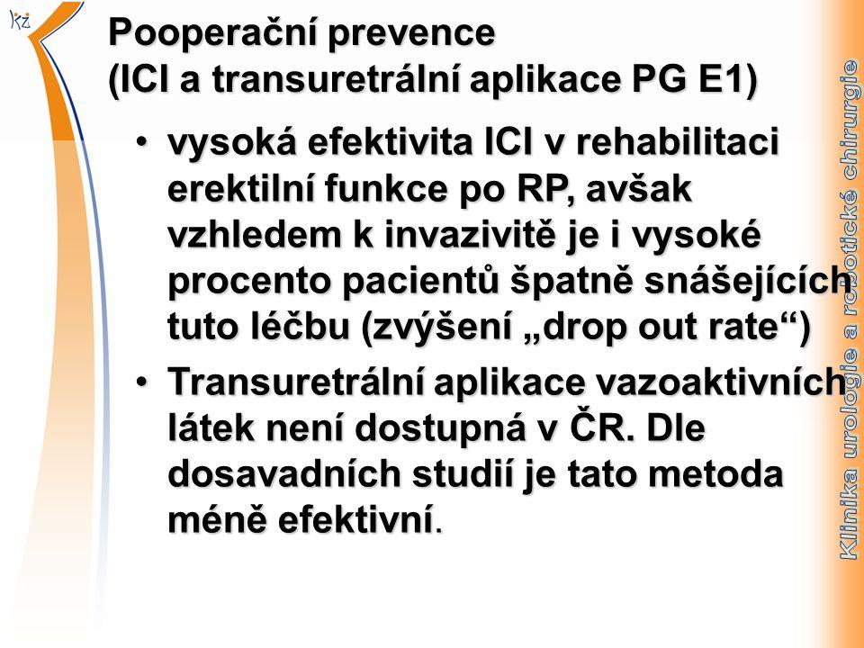 """Pooperační prevence (ICI a transuretrální aplikace PG E1) vysoká efektivita ICI v rehabilitaci erektilní funkce po RP, avšak vzhledem k invazivitě je i vysoké procento pacientů špatně snášejících tuto léčbu (zvýšení """"drop out rate )vysoká efektivita ICI v rehabilitaci erektilní funkce po RP, avšak vzhledem k invazivitě je i vysoké procento pacientů špatně snášejících tuto léčbu (zvýšení """"drop out rate ) Transuretrální aplikace vazoaktivních látek není dostupná v ČR."""