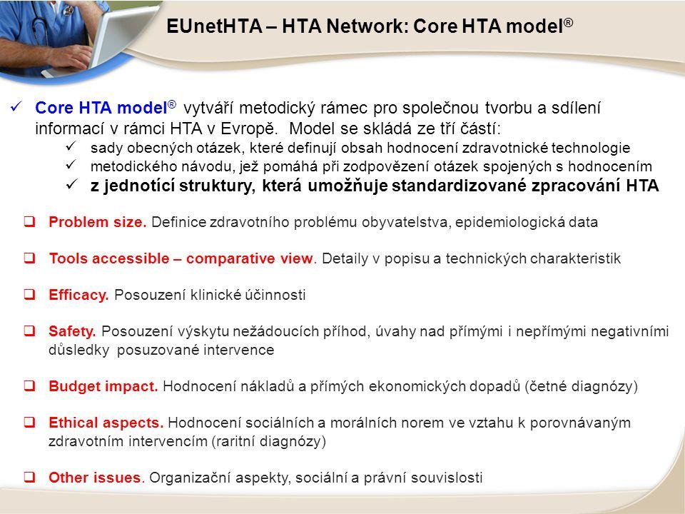 EUnetHTA – HTA Network: Core HTA model ® Core HTA model ® vytváří metodický rámec pro společnou tvorbu a sdílení informací v rámci HTA v Evropě. Model