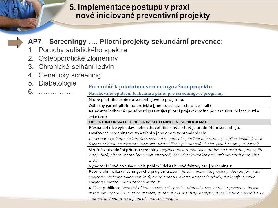 5. Implementace postupů v praxi – nové iniciované preventivní projekty AP7 – Screeningy …. Pilotní projekty sekundární prevence: 1.Poruchy autistickéh