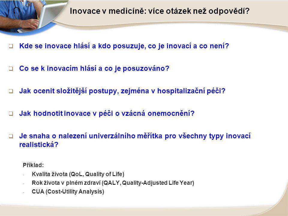 Inovace v medicíně: více otázek než odpovědí?  Kde se inovace hlásí a kdo posuzuje, co je inovací a co není?  Co se k inovacím hlásí a co je posuzov